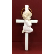 Cross Pink Praying Girl - Ceramic
