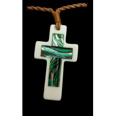 Cross Necklace - Bone with Paua