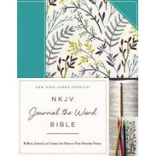 NKJV Journal the Word Bible - Teal Floral Hardcover