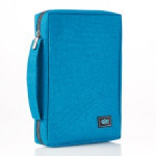 Bible Cover - Poly-Canvas with Fish Applique in Teal - Medium Size