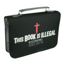 Bible Cover - Micro-Fiber - This Book Is Illegal - Black - Size Medium