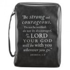 Bible Cover - Be Strong and Courageous - Black - Size Large