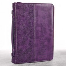 Bible Cover - Faith LuxLeather in Purple - Medium Size