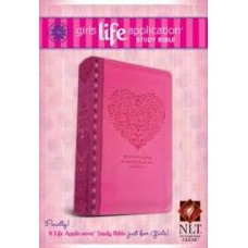 NLT Girls Life Application Study Bible (Leatherlike Pink Heart)