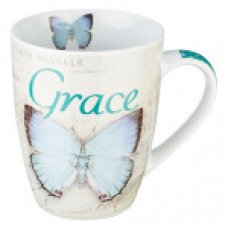 Grace Mug - Teal Butterfly Design