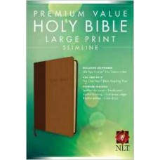 NLT Premium Value Large Print Slimline - Tan / Brown