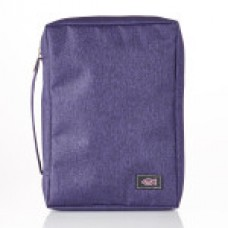 Bible Cover Poly-Canvas with Fish Applique in Purple - Large Size