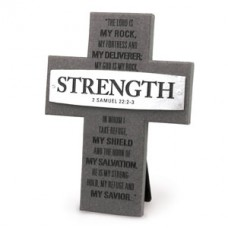 Strength -2 Samuel 22:2-3 - Gray and Silver Layered Cross