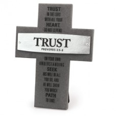 Trust - Proverbs 3:5-6 - Gray and Silver Layered Cross